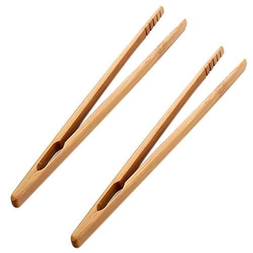 Fablcrew Lot de 2 Pièces Pince à Toasts Pince à Pain Grillé Pince de Cuisine en Bambou pour Grille-Pains Baguettes 18CM