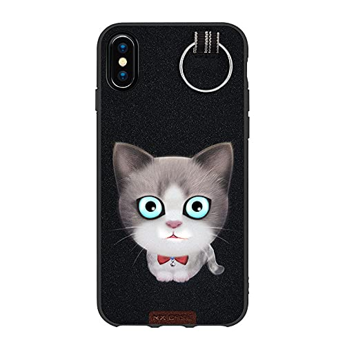 Adecuado para iPhoneX funda de teléfono móvil Apple 12 todo incluido pro cat 3D tridimensional pintado suave anti-caída negro cat_iPhone7/8Plus
