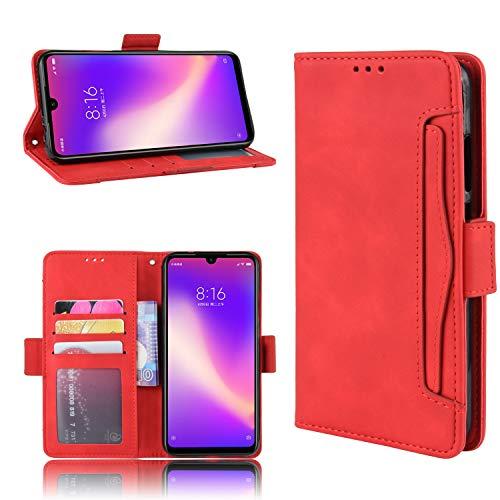 LODROC Xiaomi Redmi Note 7/Note 7 Pro Hülle, TPU Lederhülle Magnetische Schutzhülle [Kartenfach] [Standfunktion], Stoßfeste Tasche Kompatibel für Xiaomi Redmi Note 7 - LOBYU0201020 Rot