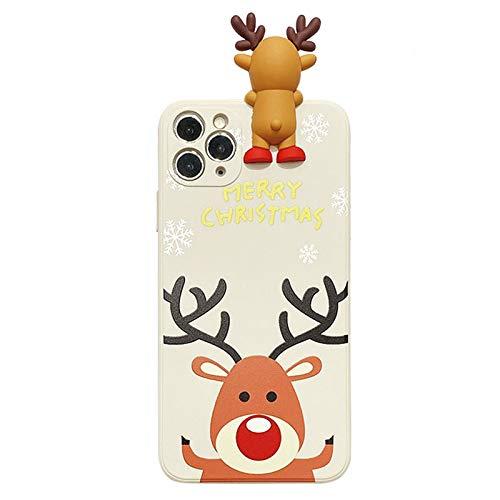 SGVAHY - Funda de silicona para iPhone, diseño de Papá Noel en 3D, diseño de dibujos animados suave de silicona TPU ultra fina a prueba de golpes (blanco alce, iPhone 7 Plus/8 Plus)