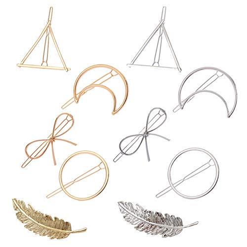 JBINNG 10 Stück minimalistisch zierlich hohl geometrisch Gold Silber Metall Haarspangen Haarklemmen