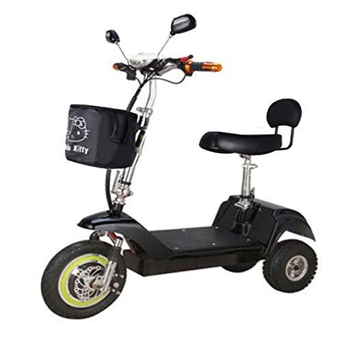 CHHD Scooter eléctrico para Adultos Mini Triciclo eléctrico Plegable 48V Batería de Litio Resistencia 35 km 350W Peso del automóvil 22 kg Batería El automóvil Puede soportar un Peso 100