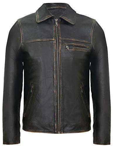 Infinity Leather Los Hombres Inteligentes Harrington Chaqueta de Descolorido Cuero Oscuro Marrón M