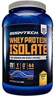 BodyTech Whey Protein Isolate Powder with 25 Grams of Protein per Serving BCAA's Ideal for PostWorkout Muscle Building Gro...