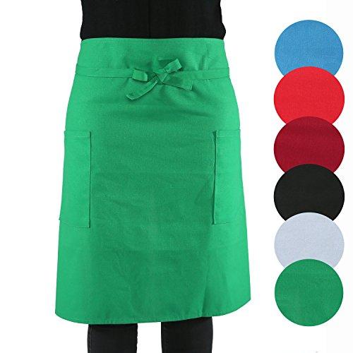 sinnlein® Vorbinder Kochschürze Küchenschürze 100% Baumwolle   mit 2 Taschen   6 Farben wählbar - perfekt auch als Grillschürze und Backschürze (Grün)