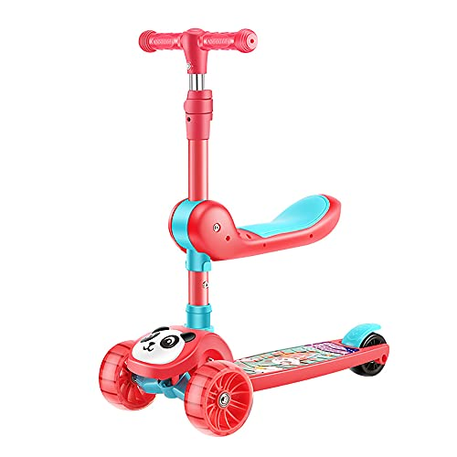 XJMPYGR Scooter de los niños Plegables, Rueda Hummer, Asiento extraíble y Manillar Ajustable,Red 1,5cm Wheel