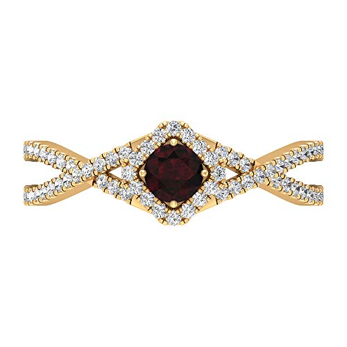 Rosec Jewels 14 quilates oro amarillo redonda round-brilliant-shape H-I Red Diamond Garnet