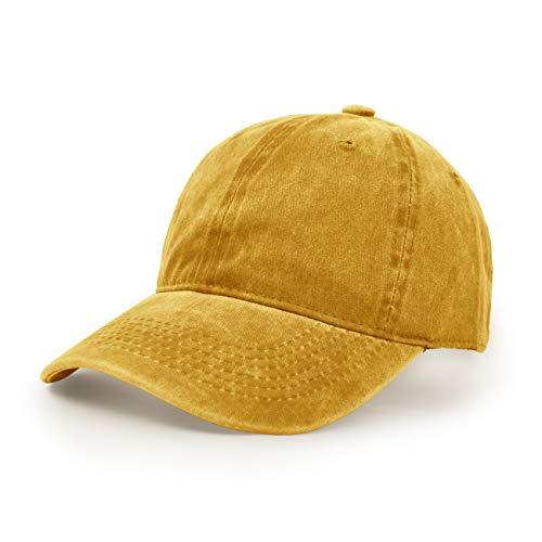 Baseballmütze, Waschbarer Stoff Baumwolle Verstellbarer Outdoor Sonnenhut Lässiger Unisex-Hip-Hop-Hut Hysteresenkappe Gelb