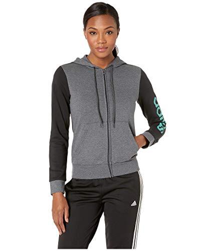 adidas Essential Linear Full Zip Hoodie Dark Grey Heather XS