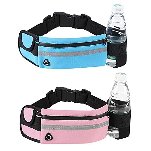 Mikqky 2 Piezas Cinturón Elástico para Correr, Adecuado para Todos Los Bolsillos de Teléfonos Móviles de Menos de 6,8 Pulgadas, Teléfono Móvil para Correr y Andar en Bicicleta(Negro, Rosa Claro)