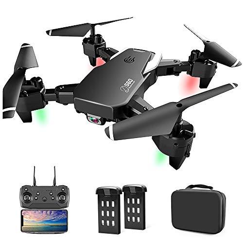 Drone con Cámara, Drone Apto para Principiantes, 1080P HD Plegable Drone con WiFi FPV, 30 Minutos de Tiempo de Vuelo, Altitude Hold, Modo sin Cabeza, Aterrizaje de Emergencia (App / Control Remoto)