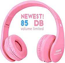 Newest! Kid Bluetooth Wireless Headphones Safe 85db Volume Limited, Long Lasting Playing, Foldable Stereo Over-Ear Headset Build-in Mic, Wired/Wireless Headphones for PC Tablet Kindle (Pink)