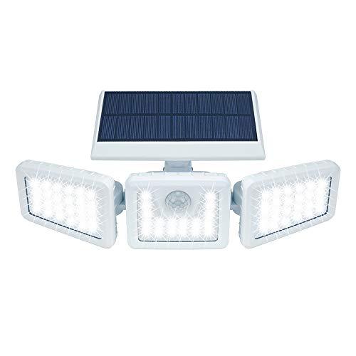 Solarlampen für Außen mit Bewegungsmelder, 70 LED Solarleuchten mit Bewegungsmelder IP 65 Wasserdichte Solar Wandleuchte 3 Modi Solar Aussenleuchte 360°Drehbare Solar Led Außen für Garten (White)