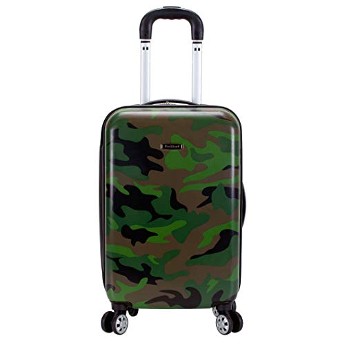 Rockland Safari Hardside Spinner Wheel Luggage, Camouflage, Carry-On 20-Inch