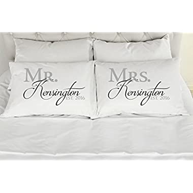 Set of 2 King Personalized Couples Pillow Cases, Mr. Mrs. Printed Pillowcases, Wedding Gift, Anniversary, Bridal Shower Gift