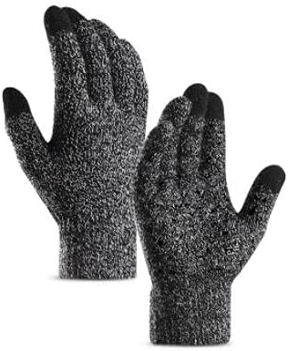 Camidy Men Winter Knitted Touchscreen Gloves Warm Fleece Lined Anti- Skid Gold Weather Gloves Mittens
