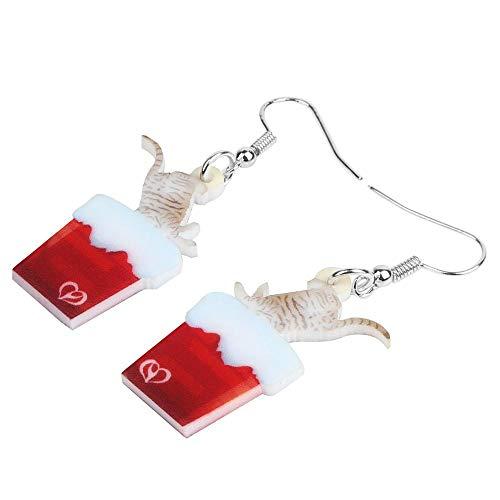 ESIVEL Acryl Weihnachten Kamin Katze Ohrringe Tropfen baumeln lange Tierschmuck für Frauen Mädchen Kind Festival Geschenkzubehör