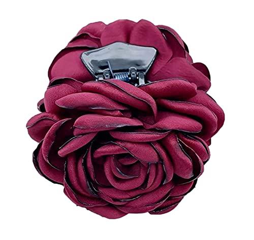 Plus Nao(プラスナオ) ヘアクリップ レディース ヘアアクセサリー ローズ バラ 花 髪飾り 髪留め まとめ髪 ヘアアレンジ おしゃれ かわいい - ワイン