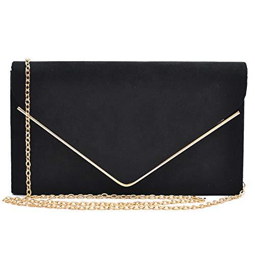 Dasein Ladies' Velvet Evening Clutch Handbag Formal Party Clutch For Women With Chain Strap (Black)