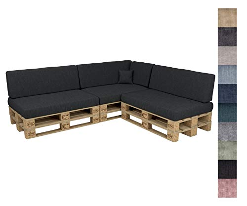 POKAR Euro Pallet Seating Set of 8: 3x seats 120x80cm + 3x back cushions 120x40cm+ 1x side cushion 60x40cm + 1x decorative pillow 40x40cm, cold foam, Garden Furniture, without pallets, anthracite