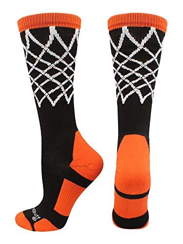 MadSportsStuff Crew Length Elite Basketball Socks with Net (Black/Orange, Small)