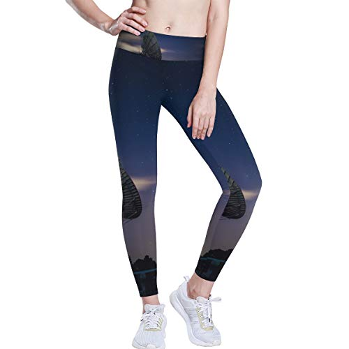 FANTAZIO Night Star Sky Receiver Hohe Taille Yoga Pants Bauchkontrolle Yoga Capris für Frauen, 4-Wege-Stretch Capri-Leggings L 1