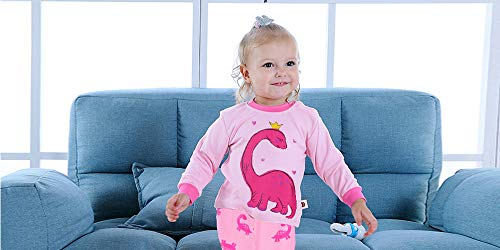 Kids Girls Long Sleeve Pajamas Hearts Shape Sleepwears Dinosaur Pajama Cute Cat Pjs for Toddler Clothes 2-7 Years