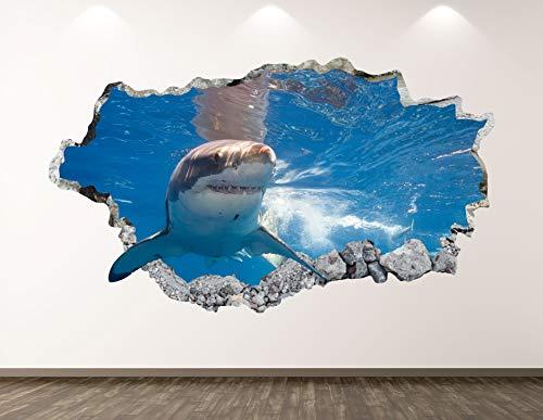 West Mountain Shark Wall Decal Art Decor 3D Smashed Kids Animal Sticker Mural Boys Custom Gift BL26