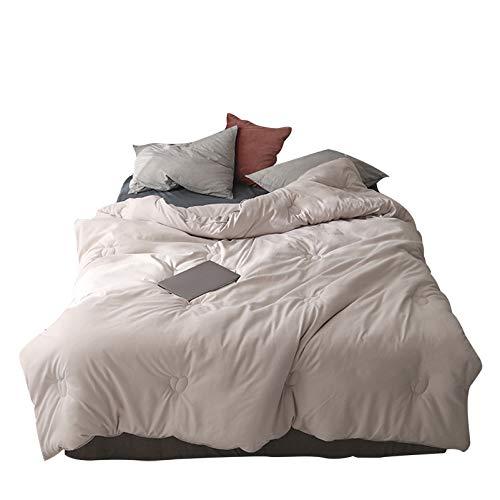 YRRA Reine Baumwoll-Soja-Steppdecke, einfarbig, für den Winter, dick, warm, weich, für Schlafzimmer und Zuhause, Beige, 220 x 240 cm (3 kg)