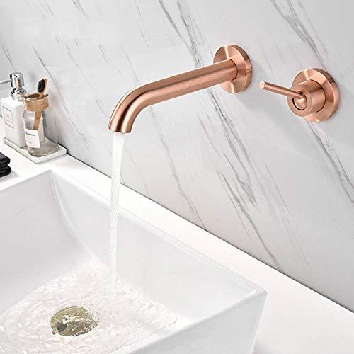 Cuenca del grifo montado en la pared de oro rosa mate en la pared de baño grifo del lavabo del fregadero 2 agujeros caliente y fría grifo monomando Tornaira, de oro rosa