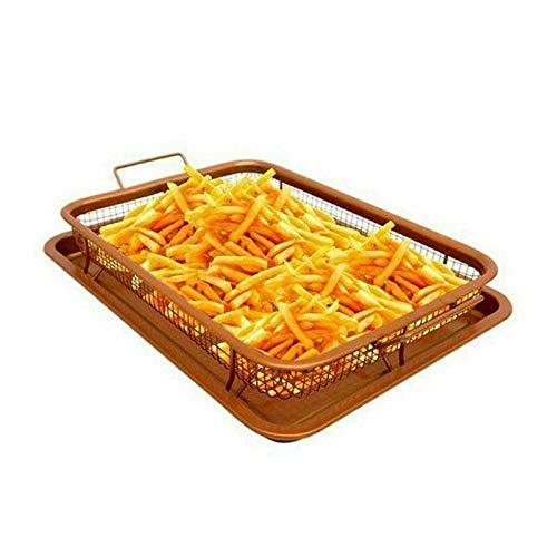Trading Innovation - Juego de 2 bandejas para hornear antiadherentes de cobre, bandeja para patatas fritas, revestimiento antiadherente de cerámica | cestas de parrilla | bandeja resistente al calor