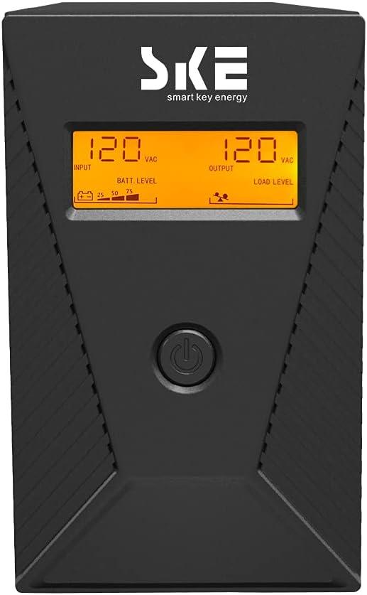 UPS Battery Backup 600VA 360W UPS Intelligent LCD Battery Backup and Surge Protector,Uninterruptible Power Supply,Battery Backup for Computer (SK600)