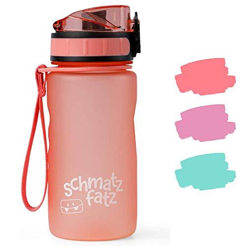 schmatzfatz auslaufsichere Sport Trinkflasche Kinder, BPA frei, 350ml, Fruchteinsatz, 1-klick Verschluss, Kinder Trinkflasche für Schule Kindergarten (Coral)
