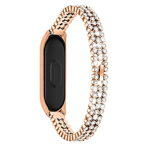Pulsera de reloj de acero inoxidable con diamantes de repuesto para Xiaomi Mi Band 4, correa de reloj inteligente, correa de muñeca, diseño de lujo