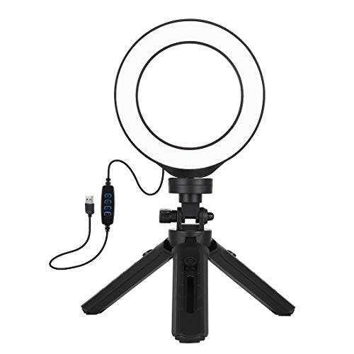 Hanks' shop 4.7 inch 12cm USB 3 Modes Dimmable LED Ring Vlogging Photography Video Swooning + Pocket Tripod Mount Kit with Dusty Shoe Tripod Ball Head (Color : Black)