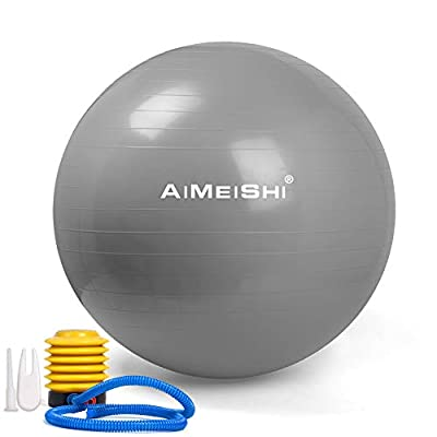 AIMEISHI Exercise Ball (Multiple Sizes) Anti-Burst and Slip Resistant Heavy Duty Stability Yoga Ball Chair?Fitness Ball Birthing Ball Supports 2200lbs?Workout Guide & Quick Pump (Office & Home & Gym)