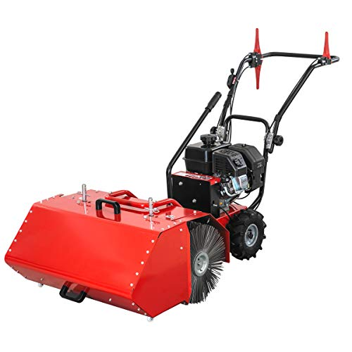 XtremepowerUS 27.5' Walk Behind Gas-Powered Power Sweeper Kohler Engine SH265 196cc CARB/EPA 6.5HP with Dust Collection Bucket