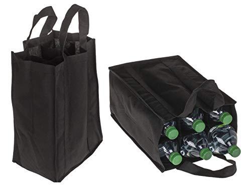 mucplants Bottlebag Flaschentasche Flaschenträger für 6 x 1.5 Liter Flaschen Tragetasche mit Trennwände ca. 28 x 17cm Schwarz aus Kunststoff
