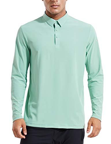 BALEAF EVO Men's UPF 50+ Sun Protection Golf Polo Shirt Quick Dry Long Sleeve Workout Tennis Shirt Green Size M