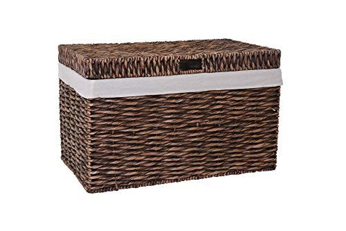 VIVANNO Wäschekorb Wäschetruhe Wäschebox Wasserhyazinthe braun Wanda - 50 x 80 x 51 cm