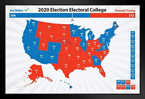 Poster Foundry Joe Biden 2020 Electoral College Map President Election Results Road to 270 Votes Blue Red States Bye Don Kamala Harris Art Print Stand or Hang Wood Frame Display 9x13 -  889179