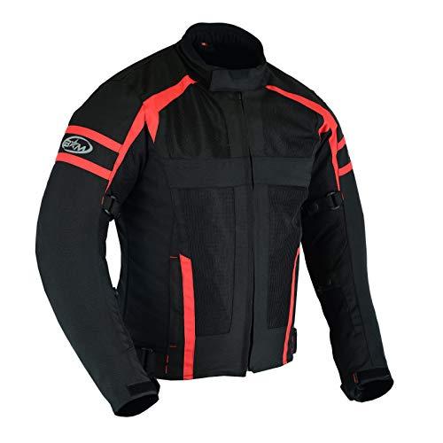 Chaqueta Para Moto Hombre, Chauqtea Para Verano, Protector CE, Negro, Rojo, Cordura Poliester (XL, Negro/Rojo)
