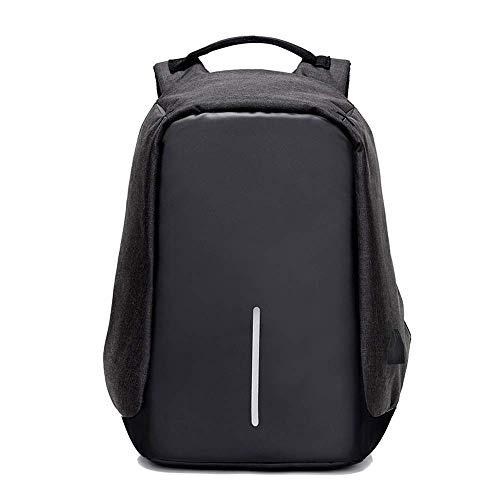 15 Zoll einbruchsichere Schultertasche Multifunktionale Computertasche USB-Ladegerät Pure Color Rucksack für die Freizeit., Schwarz - Schwarz - Größe: Einheitsgröße