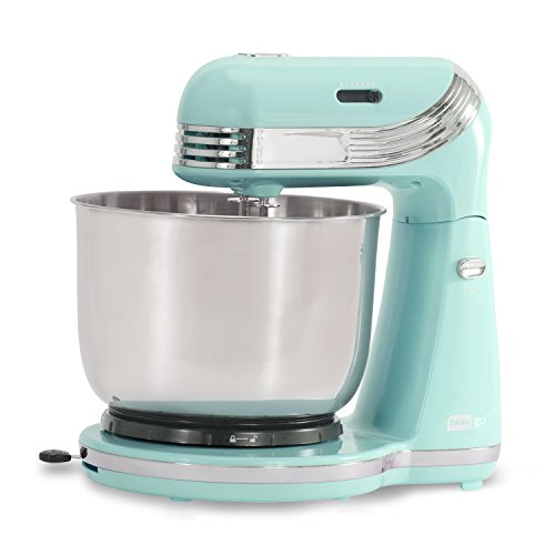 Dash Stand Mixer (Electric Mixer for Everyday Use): 6 Speed Stand Mixer with 3 qt Stainless Steel Mixing Bowl, Dough Hooks & Mixer Beaters for Dressings, Frosting, Meringues & More - Mint Green