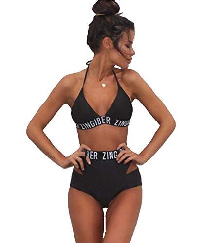 Saoye Fashion Nette Binden Halter Hohe Taille 2 Stücke Bikini Bademode Für Fiesta Kleidung Madchen Brief Gedruckt Beachwear Für Jugendliche (Color : Colour, Einheitsgröße : S)
