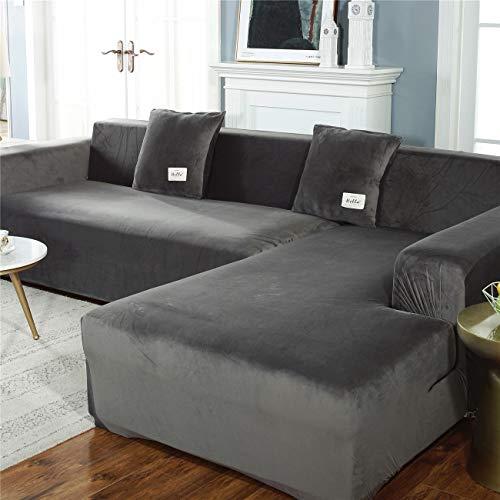 Funda de sofá Gruesa 3 plazas Color sólido Poliéster Funda elástica Ajuste con correa elástica Funda de sofá Funda de sofá antideslizante resistente a las arrugas,Gris,3seater