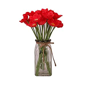 Artificial Red Poppy Anemone, Red Flower 10Pcs Realistic Lifelike Silk Fake Poppy Bunches Flower Decoration for Home Banquet Wedding