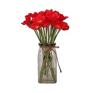 JIAJU Artificial Poppy Anemone Red Flower 10Pcs Realistic Lifelike Silk Fake Poppy Bunches Flower Decoration for Home Banquet Wedding