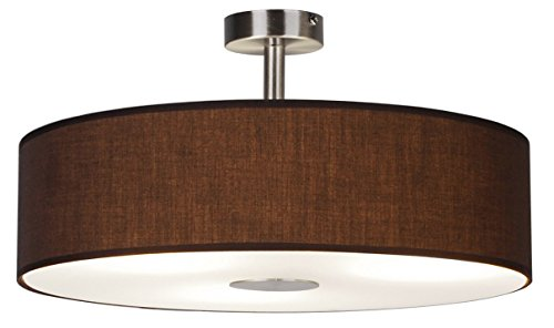 Ledar Ledino Deckenleuchte Deckenlampe Gewebe Braun/Diffusor-Glas/Stahl 3x40W, Kunststoff, 174