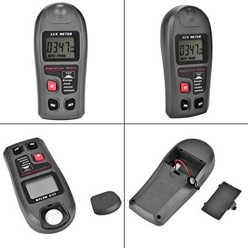 Jeanoko Medidor de luz Alta precisión ± 4% Lux Tester Pantalla LCD Iluminómetro Luxómetro Fotómetro para la Industria con un Rango de 0.1-200000 Lux o 0.01-20000 FC
